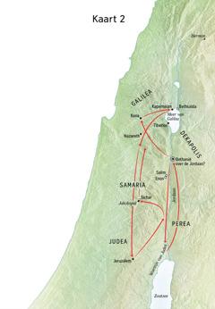 Kaart met plaatsen uit Jezus' leven, zoals de Jordaan en Judea