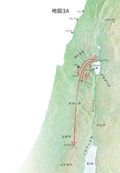 カペルナウム,カナなど,ガリラヤでのイエスの宣教の地図