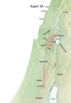 Kaart van Jezus' bediening in Galilea, Kapernaüm en Kana