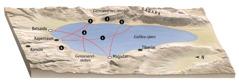Kart over steder som har tilknytning til Jesu tjeneste ved Galilea-sjøen