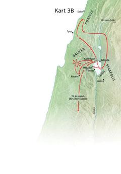Kart over steder som har tilknytning til Jesu tjeneste i nærheten av Galilea, Fønikia og Dekapolis