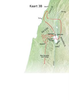 Kaart met plaatsen van Jezus' bediening in Galilea, Fenicië en de Dekapolis