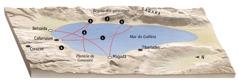 Mapa de lugares relacionados com o ministério de Jesus na região do mar da Galileia