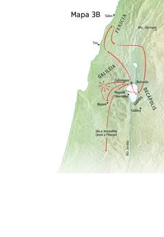 Mapa de lugares relacionados ao ministério de Jesus na região da Galileia, Fenícia e Decápolis