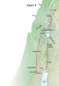 Kaart Jeesuse tegevusest Juudamaalja Galileas