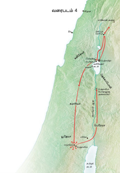 யூதேயா மற்றும் கலிலேயாவில் இயேசு செய்த ஊழியத்தைக் காட்டும் வரைபடம்