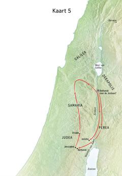 Kaart met plaatsen uit Jezus' bediening, zoals Bethanië, Jericho en Perea