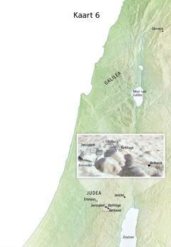 Kaart met plaatsen uit het laatste deel van Jezus' bediening, zoals Jeruzalem, Bethanië, Bethfagé en de Olijfberg