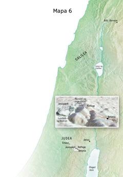 Mapa ng mga lugar na kaugnay ng huling bahagi ng ministeryo ni Jesus kasama na ang Jerusalem, Betania, Betfage, at Bundok ng mga Olibo