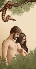 Adam og Eva i Edens Have med en slange i nærheden