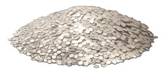 A pile of silver coins representing a talent