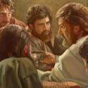 Jesus instituting the Lord's Evening Meal with his faithful apostles.