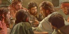 Jesus innstifter Herrens kveldsmåltid sammen med sine trofaste apostler.
