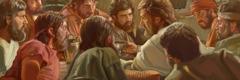 Jezus stelt het Avondmaal in met zijn trouwe apostelen.