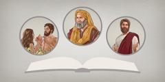 Alkitab. Gambar: Tokoh ing Alkitab. 1. Adam lan Hawa. 2. Abraham. 3. Yésus.