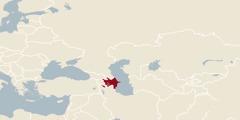 En världskarta där Azerbajdzjan är markerat