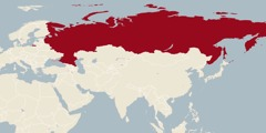 A world map showing Russia