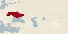 En världskarta där Ukraina är markerat
