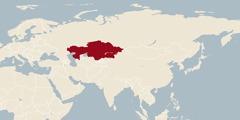 En världskarta där Kazakstan är markerat