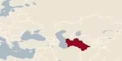 Карта света на којој је обележен Туркменистан