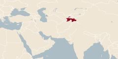 Mappemonde où est indiqué l'emplacement du Tadjikistan