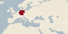 Карта света на којој је обележена Немачка