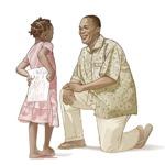 Ќеркичката со радост му носи на татко ѝ што му нацртала