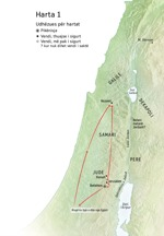 Hartë e vendeve që lidhen me jetën e Jezuit: Betlehemi, Nazareti, Jerusalemi