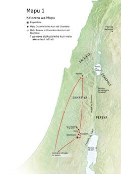 Mapu osonyeza madera amene Yesu anafika: Betelehemu, Nazareti, Yerusalemu