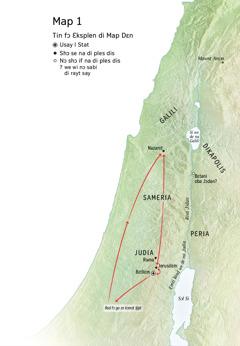 Map dɛn we de sho di difrɛn say dɛn we Jizɔs bin liv: Bɛtliɛm, Nazarɛt, Jerusɛlɛm