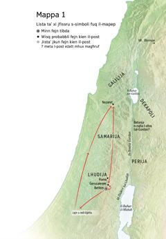 Mappa ta' postijiet li għandhom x'jaqsmu mal-ħajja ta' Ġesù: Betlem, Nazaret, Ġerusalemm