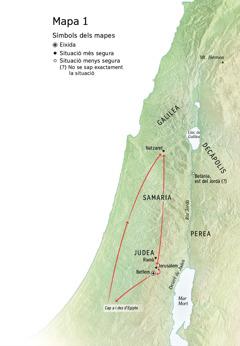Mapa dels llocs on va estar Jesús: Betlem, Natzaret, Jerusalem