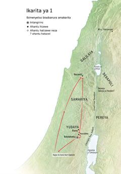 Ikarita igaragaza aho Yesu yabaye: Betelehemu, Nazareti, Yerusalemu