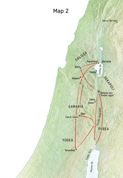 Map a ɛkyerɛ mmaea a Yesu kɔe, wobehu Yordan Asubɔnten ne Yudea nso