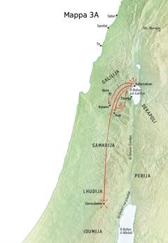 Mappa tal-ministeru ta' Ġesù fil-Galilija, Kafarnahum, u Kana
