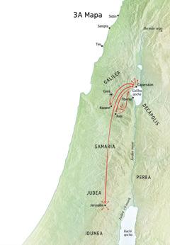 Galilea, Capernaúm, Caná llaqtakunapi Jesuspa predicasqanmanta mapa