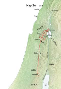 Map wea showim ministry bilong Jesus long Galilee, Capernaum, Cana