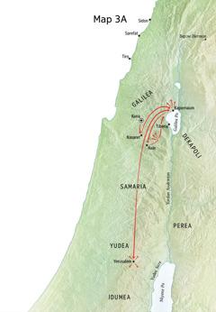 Map a ɛkyerɛ mmeae a Yesu yɛɛ ne som adwuma wɔ Galilea, Kapernaum, ne Kana