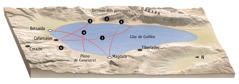 Mapa dels llocs on predica Jesús pels voltants del llac de Galilea