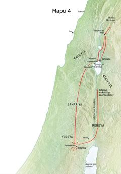 Mapu osonyeza utumiki wa Yesu ku Yudeya, Yerusalemu, Betaniya, Betsaida, Kaisareya wa Filipi