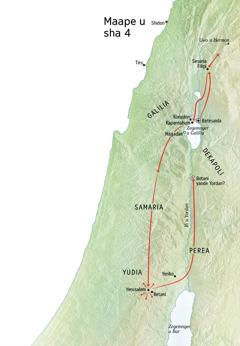 Maape u tom u Yesu' ken Yudia kua Yerusalem, Betani, Betesaida, Sesaria Filipi