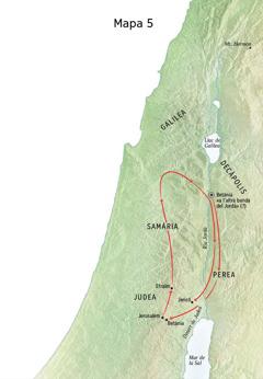 Mapa de llocs relacionats amb el ministeri de Jesús, com ara Betània, Jericó i Perea