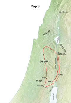 Map a ɛkyerɛ baabi Yesu yɛɛ ne som adwuma no; nkurow a ɛwɔ so no bi ne Betania, Yeriko, ne Perea