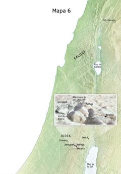 Mapa de llocs relacionats amb la part final del ministeri de Jesús, com ara Jerusalem, Betània, Betfagé i la muntanya de les Oliveres