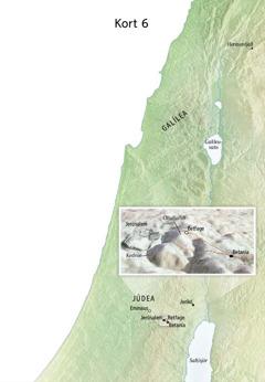 Kort yfir staði í lok þjónustu Jesú, þar á meðal Jerúsalem, Betaníu, Betfage og Olíufjallið.