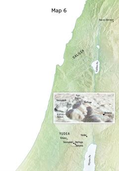 Map a ɛkyerɛ baabi a Yesu yɛɛ n'asɛnka adwuma a etwa to; nkurow a ɛwɔ so no bi ne Yerusalem, Betania, Betfage, ne Ngo Bepɔw no