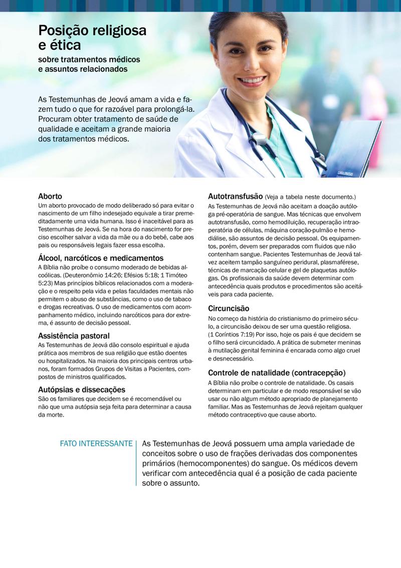 8995e85b1 Posição Religiosa e Ética sobre Tratamentos Médicos e Assuntos ...