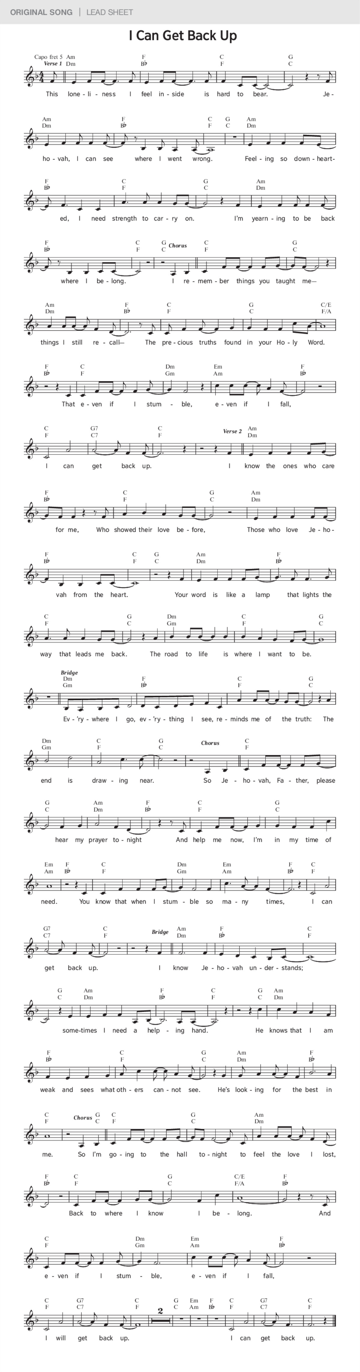 I Can Get Back Up Jw Original Song