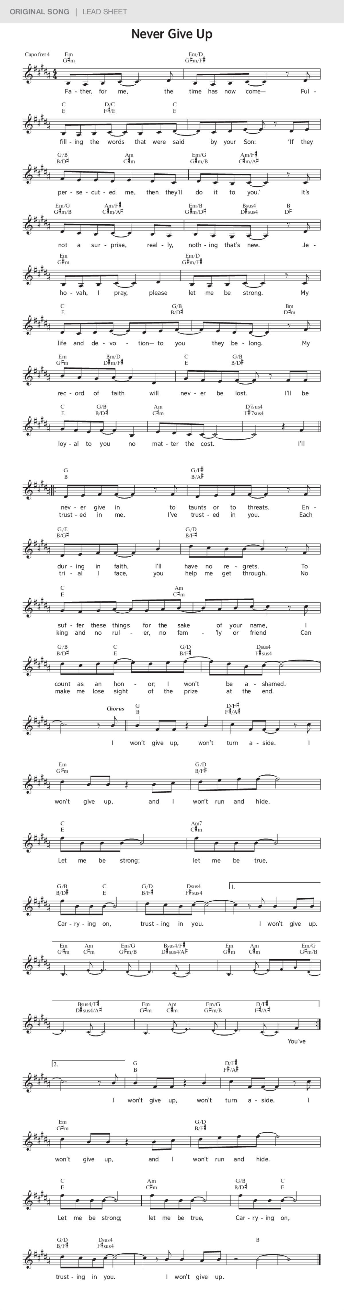 Never Give Up Jworg Original Song Lyrics