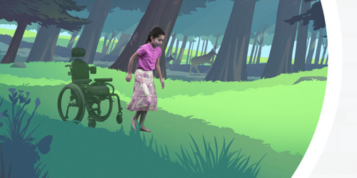 A little girl sits in a wheelchair, then jumps out of it and runs